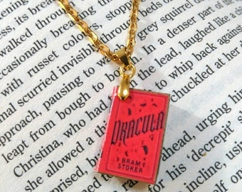 Dracula by Bram Stoker. Classic literature book charm necklace