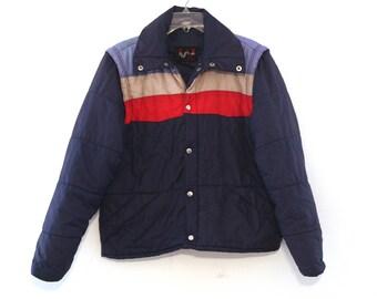 Vintage ski coat vest striped navy blue 70s 80s