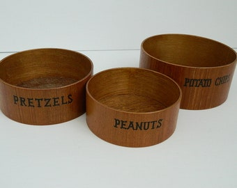 Mid Century Hand Made Teak Wood Set of 3 Nesting Snack Bowls for Pretzels, Potato Chips and Peanuts