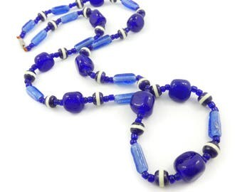 Vintage Cobalt Blue Necklace, Glass Beads, W16