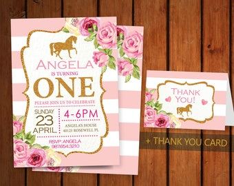 Horse Birthday. 1st Birthday Party invitation. Pink and Gold. Printable Digital DIY Card