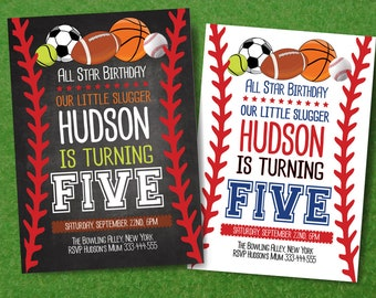 All Stars Birthday Party Invitation, All Sports Boy Birthday Party, Baseball Party, All Stars Birthday Printable Card