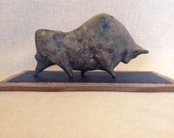 Brutalist mid century modern bull sculpture