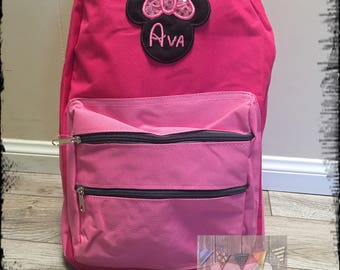 Minnie Mouse Backpack, Personalized Disney Backpack,Disneyland Backpack, School Backpack, School Book Bag, Girls Backpack