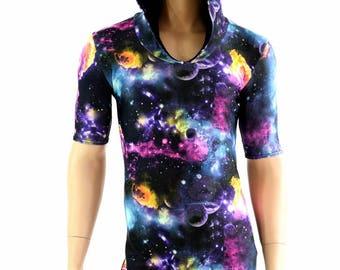 Mens UV Glow Galaxy Tee Length Sleeve Hoodie Romper w/Black Zen Hood Liner Party Animal Festival Rave Bromper - 154558
