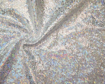 Silver on White Shattered Glass Holographic Spandex Fabric Rainbow Shine Iridescent Opal Prismatic Sparkly Brilliant Stretchy (By the Yard)