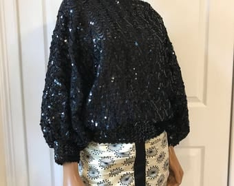 Sequined Sweater Dolman Sleeves Black Deco 1980s OS