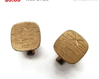 ON SALE! Copper Toned Cuff Links Vintage Square Etched Cufflinks Men's Suit Accessory Gift Idea