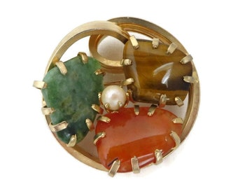 Vintage Faux Jade Brooch, Tiger Eye, Carnelian, Pearl Gold Tone Circle Pin, Estate Jewelry