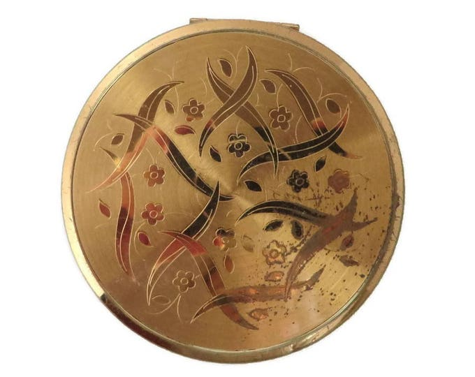 Elgin American Gold Tone Compact, Vintage 1940s Round Makeup Collectors Compact