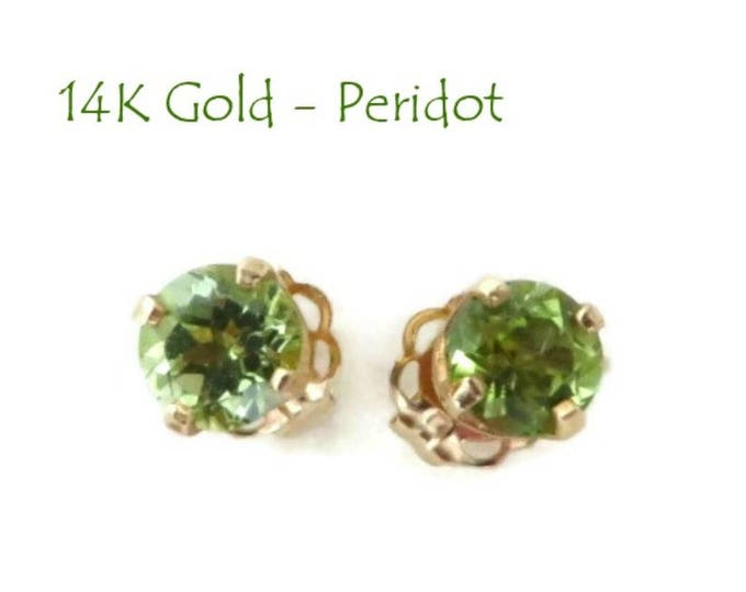 14K Gold Peridot Studs - Vintage Pierced Earrings, New Old Stock, Valentine's Day Gift