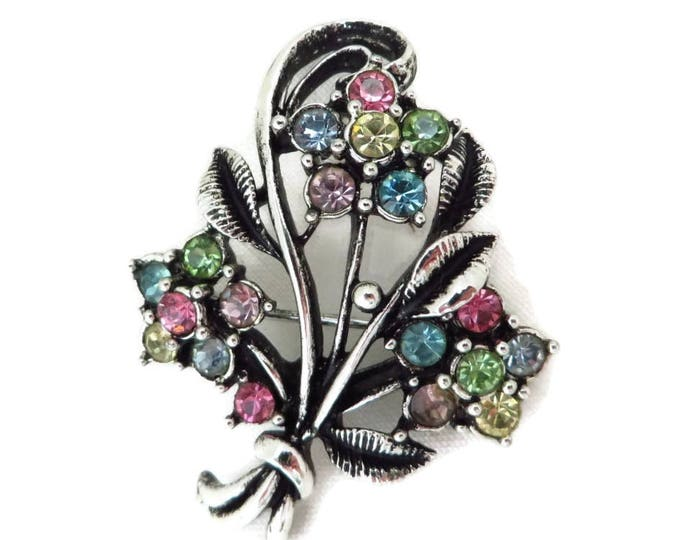 Vintage Flower Corsage Brooch - Silver Tone Rhinestone 1950s Floral Bouquet Pin