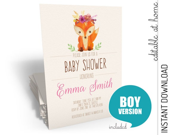 Woodland Baby Shower Invitation Girl INSTANT DOWNLOAD