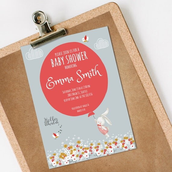 Bunny Baby Shower Invitation INSTANT DOWNLOAD