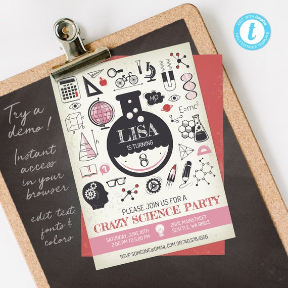 Science Birthday Invitation Girl, Science Invitation, Science Party Invitation, fully editable INSTANT DOWNLOAD printable at home