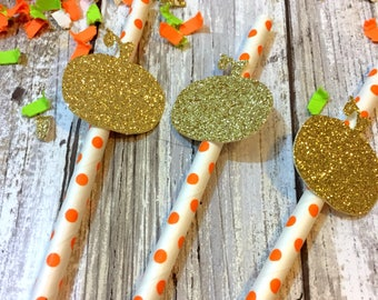 12 Little Pumpkin Straws, Pumpkin Birthday Decor, Little Pumpkin Baby Shower, Gold Pumpkin Party Decor, Fall First Birthday, one pumpkin