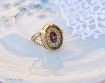 Vintage Soviet Retro Russian Chaika 17 Jewels Ladies Gold Plated Mechanical Wind Up Watch Ring Size UK P/US 7.5/Eur 56 cm Free Shipping!