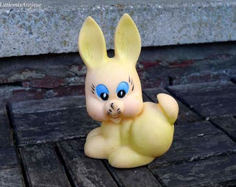 Vintage Soviet Era Soft Rubber Squeaky Toy Rabbit Made in USSR Retro Collectible Rabbit Toy Made by LTSR Production Association 'Neringa'