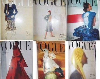 6x Vintage VOGUE magazine 1940s // Vintage Vogue 1946 // Vintage Vogue 1947 // Vintage Vogue // Vintage magazine // Fashion 40s// 40s