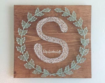 Laurel Wreath Monogram String Art, String Art Letter, String Art Monogram Sign, Wreath String Art, Laurel Wreath Sign, Letter String Art