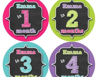 PERSONALIZED Baby Girl Month Stickers Monthly 12 Month Sticker Monthly Baby Stickers Baby Shower Gift Photo Prop Milestone Sticker 494