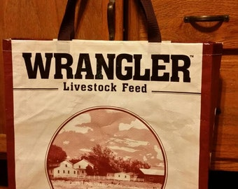 Wrangler Feed Bag Tote Bag Repurposed  Zero Waste