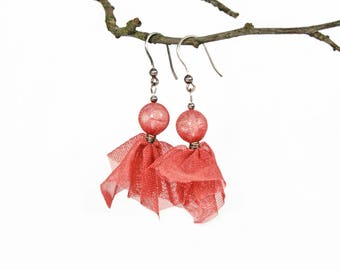 Recycled tulle jewelry. Upcycled earrings made from tulle and sterling silver hooks. Recycled pink salmon earrings VIENNA