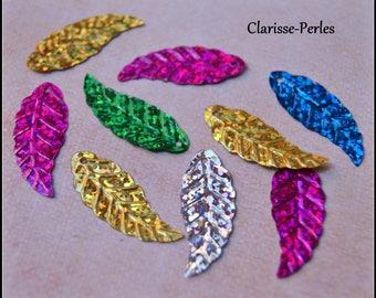 30 glitter sequin metal fan sachet multicolored 11x20mm