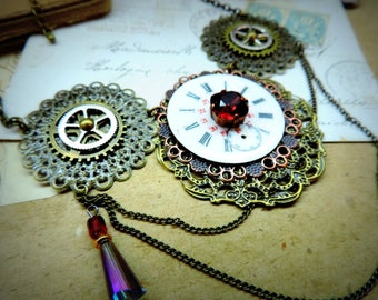 Gothic necklace Victorian steampunk, Vintage French enamel dials