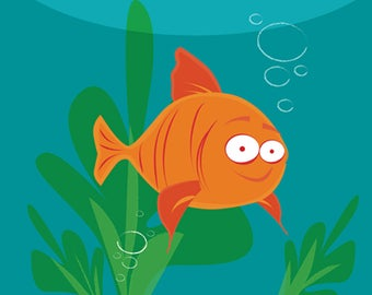 Melville the Goldfish Illustration. Digital Art Download.