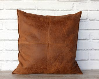 Fast Shipping/Piecewise square design terracotta brown -1pcs&Brown thick vegan leather pillow with decorative stitches -1pcs