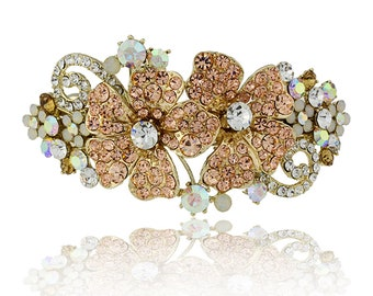Hair Jewelry Floral Crystal Hair Barrettes, Light Brown / Free Gift Box(MIBL1B)