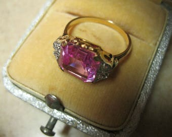 Art Deco 10K Pink Synthetic Sapphire and Diamond Ring Sz. 5-3/4