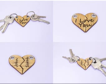 Personalized Split Hearts Keychain for Anniversary or Birthday