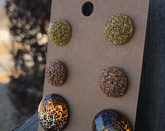 Druzy Gold stud earrings druzy charms leopard print animal print earrings stud earrings gold earrings nickel free jewelry gold stud earrings