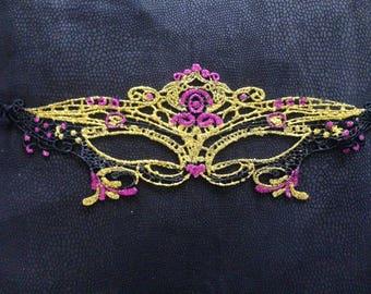Venetian Masquerade Mask - Glitter Gold & Hot Pink