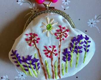 Hand Embroidered coin purse. Lined.