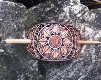 Celtic spiral hand carved leather hair barrette