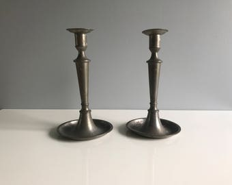 Pair of Vintage Pewter Candlestick Holders / Pewter Candle Holders / Pewter Candlesticks Made by Fein