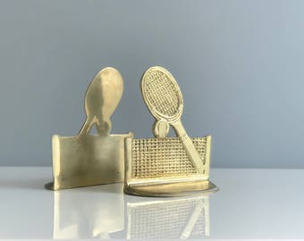 Vintage Brass Tennis Bookends / Tennis Raquet Bookends / Tennis Decor