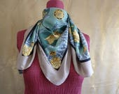 Vintage Pierre Balmain silk scarf in greens and golds, silk square scarf, 1950s scarf, retro scarf, green silk scarf