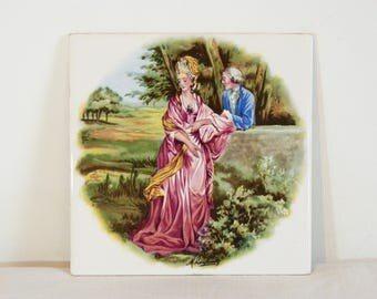 Kitsch 18th century courting lovers couple VILLEROY & BOCH unused ceramic wall tile - French 70s vintage
