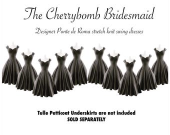 20% OFF Sale! 10 Charcoal Grey Pin Up BRIDESMAID Dresses, Custom Fit Swing Dresses, Handmade by Hardley Dangerous Couture, USA made!