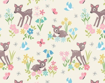 So Darling A286-1 Little Deer on Cream Lewis & Irene Patchwork Quilting Fabric