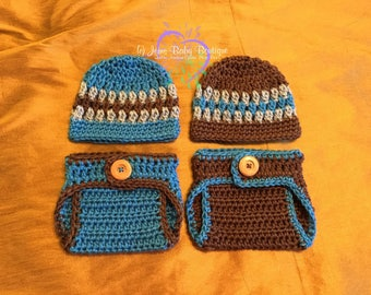 Cute Newborn Twin Blue & Brown Set Crochet Diaper Cover and Beanie SET, Made to Order,  Baby Boy SET, Photo Prop Set,