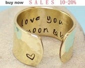 Personalized Gold Ring.. I love you to the moon and back Brass Ring- Adjustable Ring - Hand Stamped -Hammered Ban -Custom - Anniversary Gift
