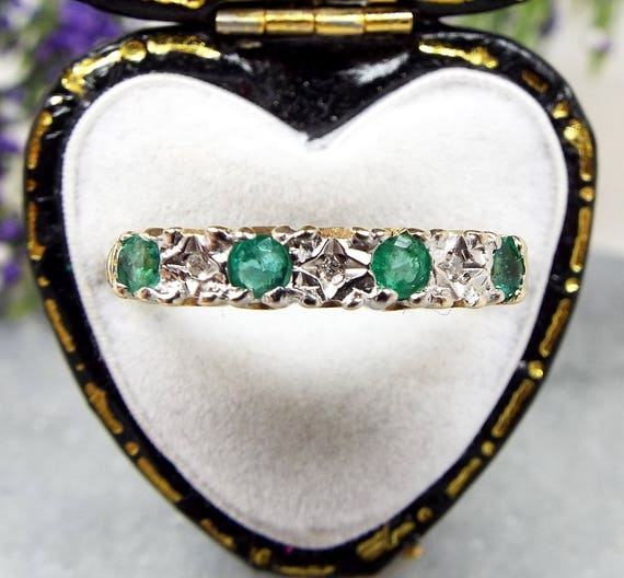 Vintage / 9ct Yellow Gold Emerald and Diamond Half Eternity Band Ring / Size Q 1/2