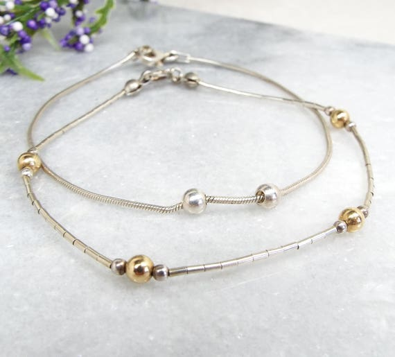 Vintage Sterling Silver Set of 2 Skinny Ball Accent Stacking Bracelet Chains 925