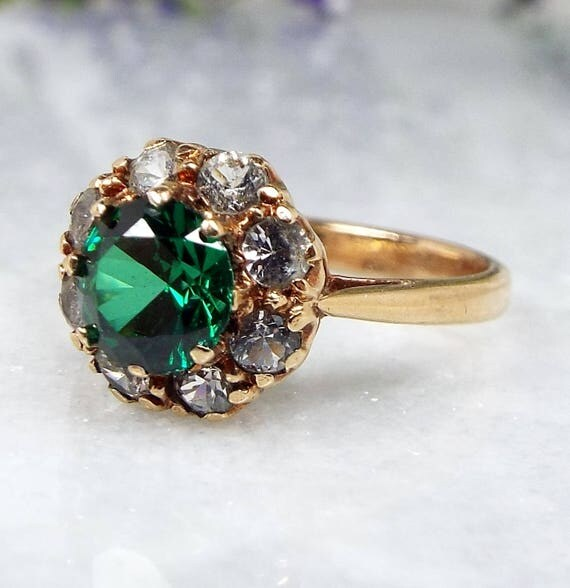 Vintage 1950's 9ct Yellow Gold Green and White Spinel Cluster Ring / Size K 1/2