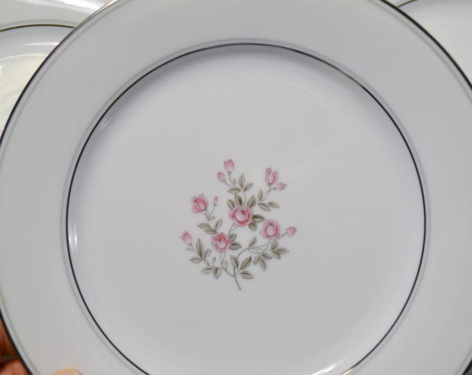 Vintage Noritake Stanton Salad Plate Set of 8 Pink Roses Floral Platinum Gray Rim 5407 Japan Replacement PanchosPorch